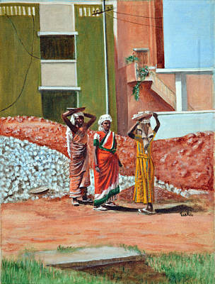 Sarees Painting - The Real Home Makers by Usha Shantharam