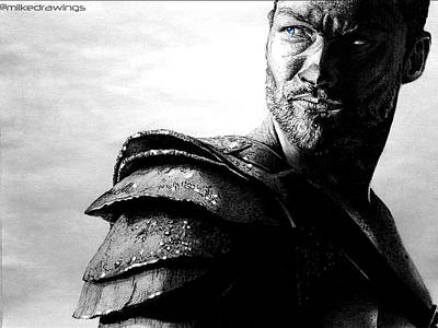 Igers Drawing - The Real Spartacus Andy Whitfield by Mike Sarda