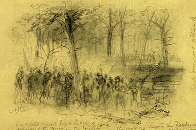 Civil Rights Drawing - The Rebels Covered By A Ledge Of Rock Repulsing The Troops by Quint Lox
