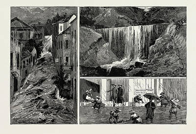 Hong Kong Drawing - The Recent Disastrous Floods At Hong Kong by Litz Collection
