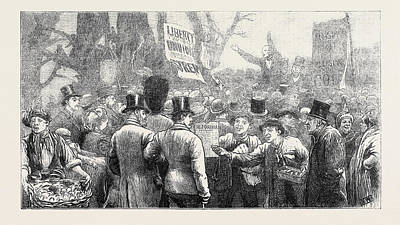 Hyde Park Drawing - The Recent Fenian Demonstration In Hyde Park by English School