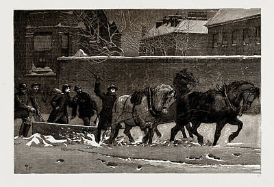 Frost Drawing - The Recent Frost And Snow Storm In London A Snow-plough by Litz Collection