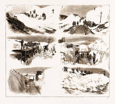 Snow Storm Drawing - The Recent Great Snow Storm In Scotland, Scenes by Litz Collection