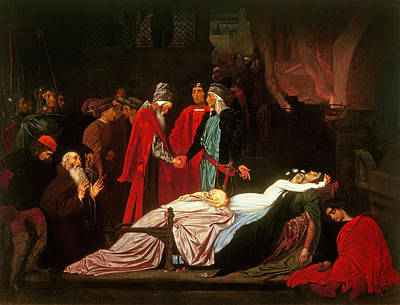 The Reconciliation Of The Montagues And The Capulets Over The Dead Bodies Of Romeo And Juliet Oil Art Print