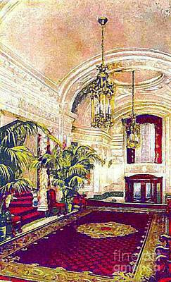 The Rector Hotel Lobby Staircase In 1910 Art Print by Dwight Goss