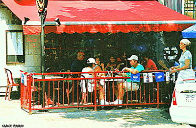 Rue Prince Arthur Painting - The Red Awning Cafe On St. Denis - A Shady Spot To Enjoy A Cold Beer On A Very Hot Sunday In July by Carole Spandau