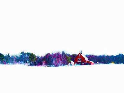 Digital Art - The Red Barn 2 by Carol Tsiatsios