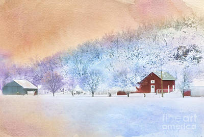 The Red Barn Art Print by Betty LaRue