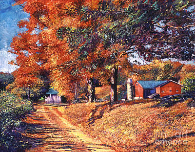 Colored Leaves Painting - The Red Barn by David Lloyd Glover