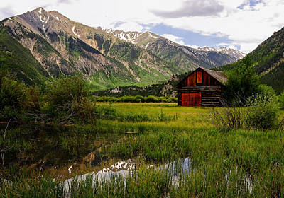 Twin Lakes Photograph - The Red Barn Door by The Forests Edge Photography - Diane Sandoval