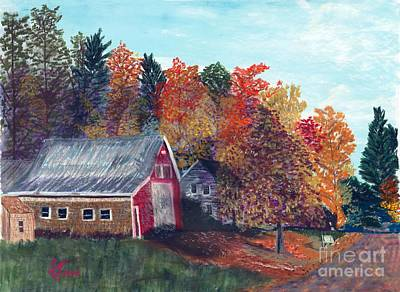 Pastel - The Red Barn by Francois Lamothe