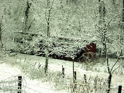 Barns In Snow Photograph - The Red Barn by Mimi Saint DAgneaux