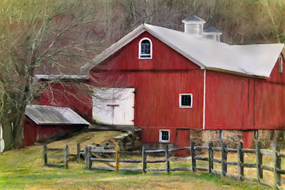 Split Rail Fence Digital Art - The Red Barn by Posey Clements
