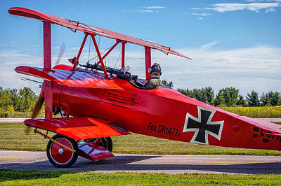 Triplane Photograph - The Red Baron by Steve Harrington