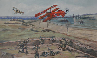 Print featuring the painting The Red Baron's Last Combat by Murray McLeod