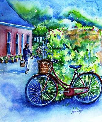 Art Print featuring the painting The Red Bike  by Trudi Doyle