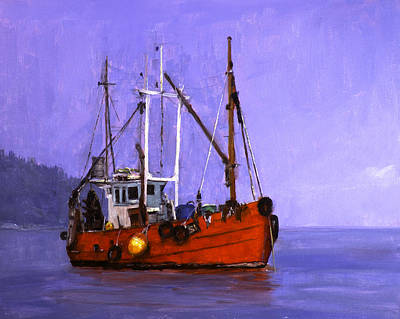 The Red Fishing Boat Art Print by Carlos Herrera