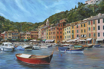 Portofino Italy Painting - The Red Boat by Emily Olson