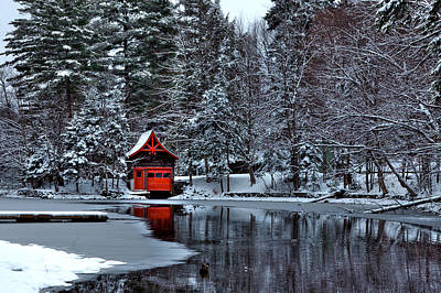 Snowy Brook Photograph - The Red Boathouse - Old Forge Ny by David Patterson