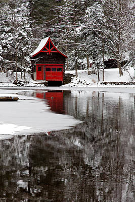 Snowy Brook Photograph - The Red Boathouse On Beaver Brook by David Patterson
