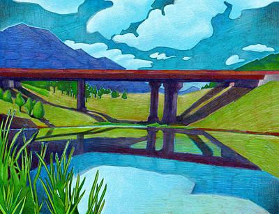 Drawing - The Red Bridge by Dan Miller