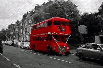 London Tube Mixed Media - The Red Bus by Steve K