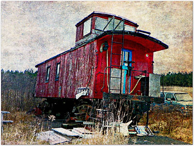The Red Caboose Art Print by Dianne  Lacourciere