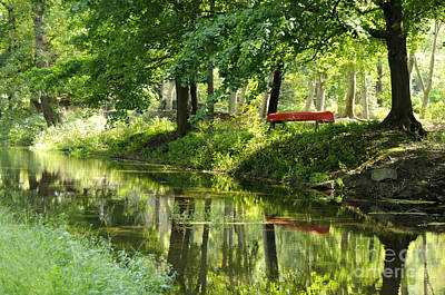 Solebury Photograph - The Red Canoe by Addie Hocynec