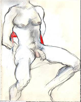 Mixed Media - The Red Chair - Male Nude by Carolyn Weltman