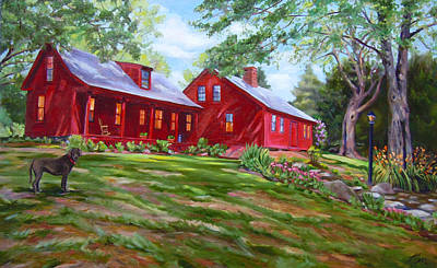 Painting - The Red Colonial House by Nancy Griswold