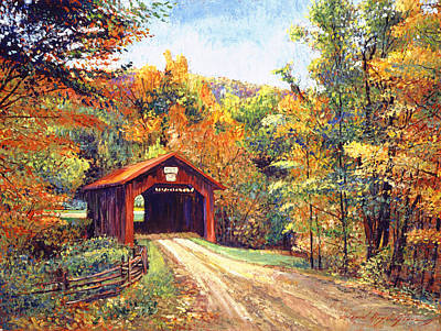 Fallen Leaves Painting - The Red Covered Bridge by David Lloyd Glover