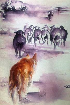 The Red Dog Art Print by Leslie Franklin