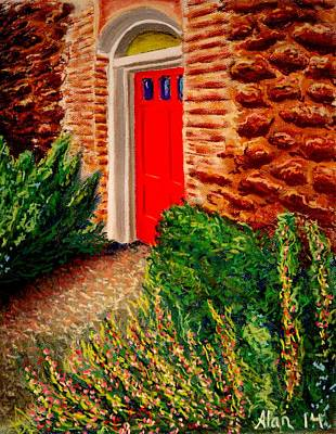 Drawing - The Red Door by Alan Conder