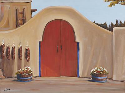 Painting - The Red Door Santa Fe Nm by David  Llanos