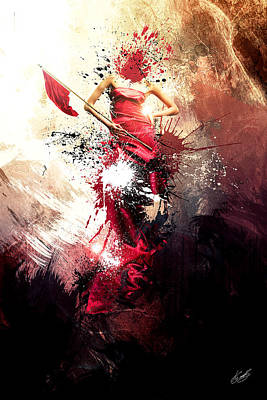 Abstract Movement Mixed Media - The Red Flag by Aj Collyer