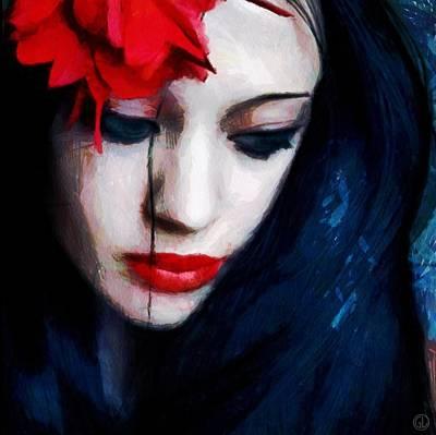 Lips Digital Art - The Red Flower by Gun Legler