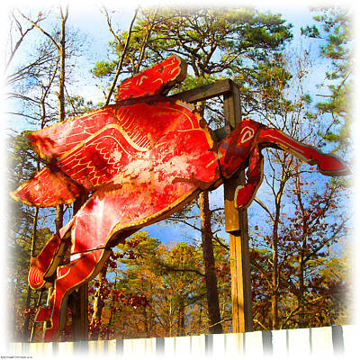 Digital Art - The Red Flying Horse by K Scott Teeters