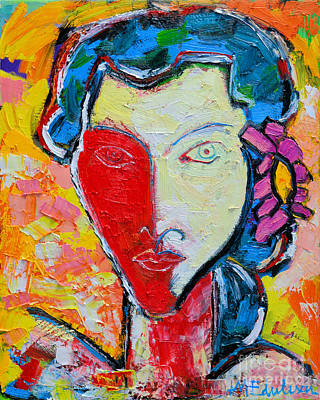 The Red Half Expressionist Girl Portrait  Art Print by Ana Maria Edulescu