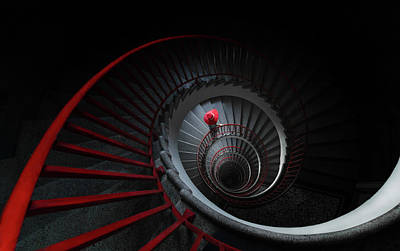 Spiral Wall Art - Photograph - The Red Hat by Mandru Cantemir