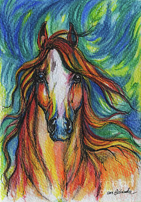 Equine Art Drawing - The Red Horse by Angel  Tarantella