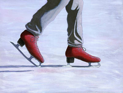 Pond Hockey Painting - The Red Ice Skates by Karyn Robinson