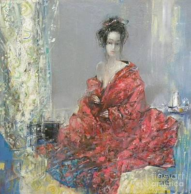 Grey Painting - The Red Kimono by Grigor Malinov