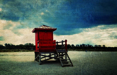 Digital Art - The Red Lifeguard Shack by Sandra Selle Rodriguez
