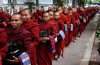 Grey Scale Photograph - The Red Line Of Buddhist Monks by RicardMN Photography