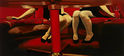 Cocktail Lounge Painting - The Red Lounge by Marcella Lassen