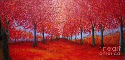Painting - The Red Maples Alley by Marie-Line Vasseur
