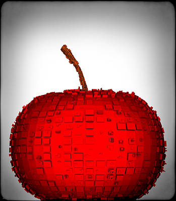 Digital Art - The Big Red Metal Apple... by Tim Fillingim