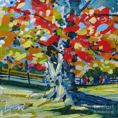 Loose Painting - The Red Of Oak by Larry Lerew