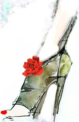 Fetish Art Mixed Media - The Red Peony Shoe by Carolyn Weltman