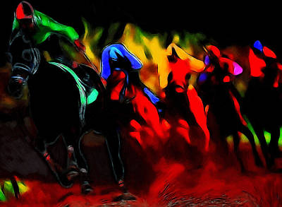Abstract Horse Painting - The Red Riders by Steve K